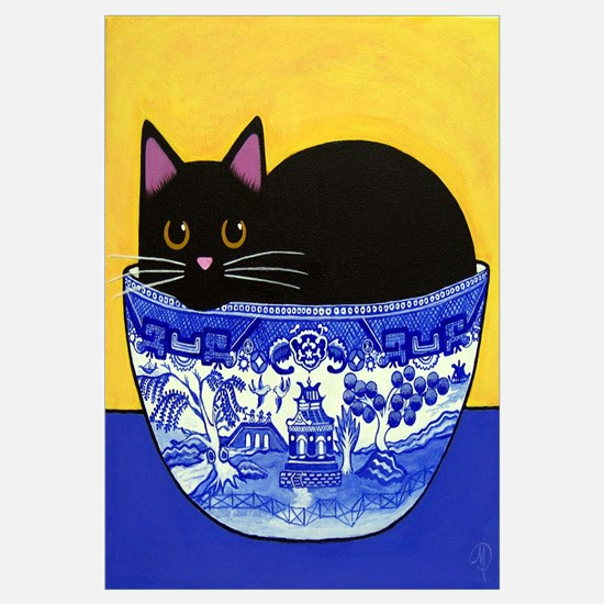 Black Cat In Blue Willow Bowl Print