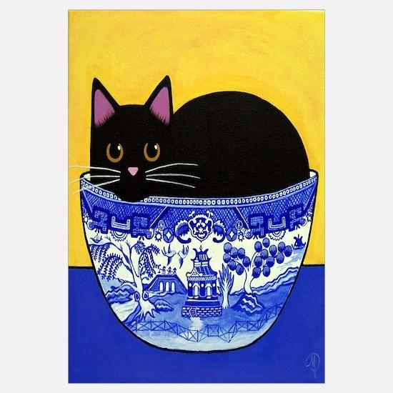 Black Cat In Blue Willow Bowl Print
