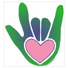 Green/Pink Heart ILY Hand Poster