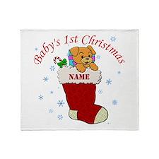 Babys 1st Christmas Throw Blanket