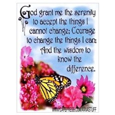 FLOWERED SERENITY PRAYER Poster