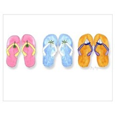 3 Pairs of Flip-Flops Poster