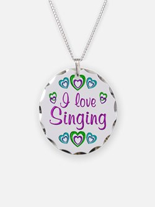 I Love Singing Necklace Circle Charm