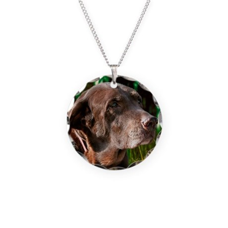 Chocolate Sweet Lab Necklace Circle Charm