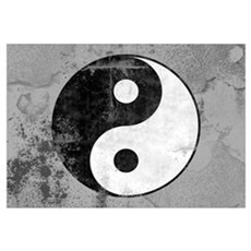 Distressed Yin Yang Symbol Canvas Art