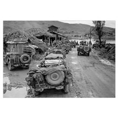 US Jeeps in the Mud During the Korean War Framed Print