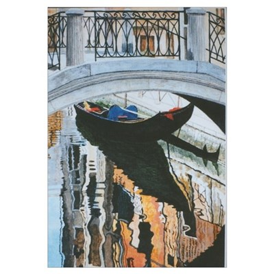 Gondola in Venice by Gordon Joy. Framed Print