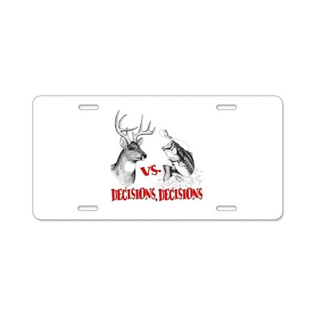 Hunting vs fishing aluminum license plate by iheartalot for Fishing license plate