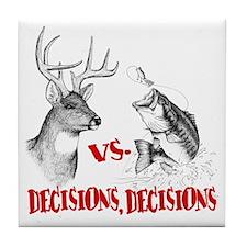 Hunting vs fishing Tile Coaster