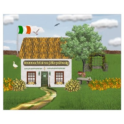 St. Patrick's Day Cottage Un Canvas Art