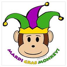 Mardi Gras Monkey Poster
