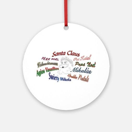 Santa Claus Languages Ornament (Round)