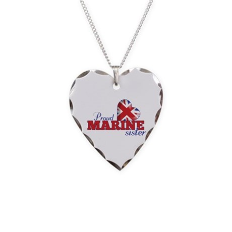 Proud Marine Sister - Necklace Heart Charm