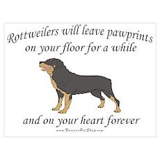 Rottweiler Pawprints Poster