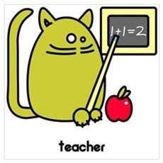 Teacher Kat - Green Cat Design Canvas Art
