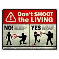Don't Shoot the Living Zombie Framed Print