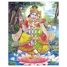 Krishna and Radha Dancing Un Poster