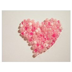 Pink pearly heart Poster