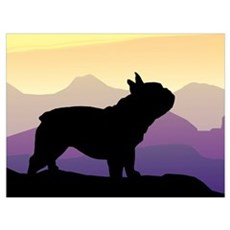 Frenchie Purple Mt. Framed Print