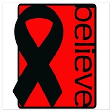 Red (Believe) Ribbon Poster
