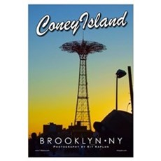 Brooklyn Coney Island Parachute Framed Print