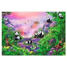 'Pandas in the Wild' illustration by Birg Schulz Framed Print