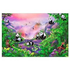 'Pandas in the Wild' illustration by Birg Schulz Poster