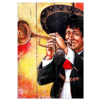 Mexican Mariachi Trumpet Player Print Canvas Art