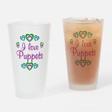 I Love Puppets Drinking Glass