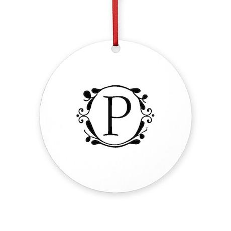 INITIAL P MONOGRAM Ornament (Round)