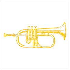 "Woodcut ""Brass"" Trumpet Poster"