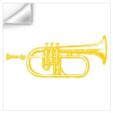 "Woodcut ""Brass"" Trumpet Wall Decal"