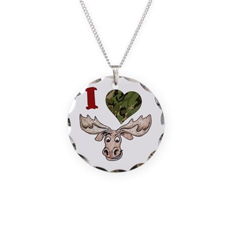 I love a Moose! Necklace Circle Charm