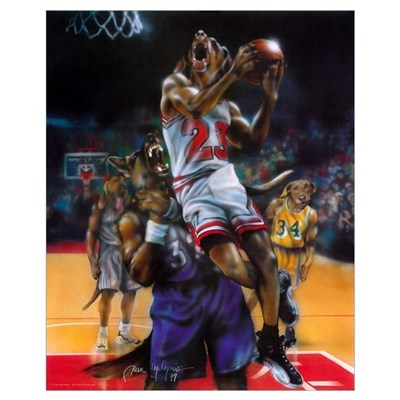 Dogs Playing Basketball - (16x20) Poster