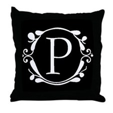 INITIAL P MONOGRAM Throw Pillow