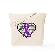 Epilepsy Heart Ribbon Tote Bag