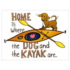 Home is Where the Dog and the Kayak Are Framed Print