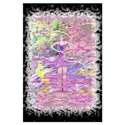 Ballerina with Party Ribbons Poster