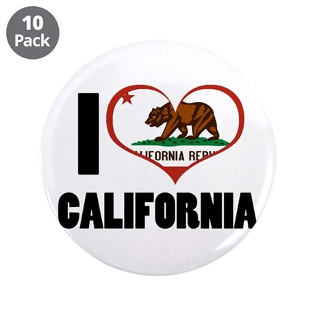 "I Love California 3.5"" Button (10 pack)"