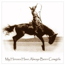 Cowgirl Hero antiqued image Poster
