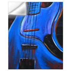 Electric Blue Bass Art Wall Decal