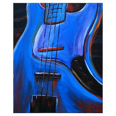 Electric Blue Bass Art Poster