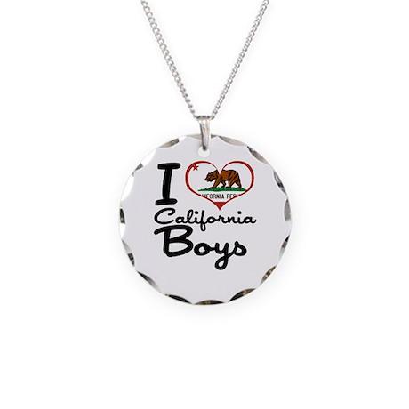 I Love California Boys Necklace Circle Charm