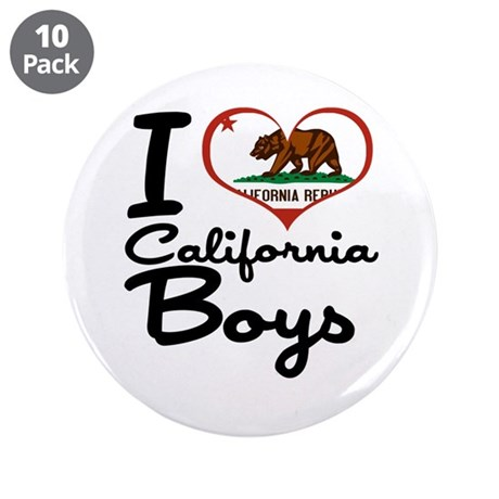 "I Love California Boys 3.5"" Button (10 pack)"