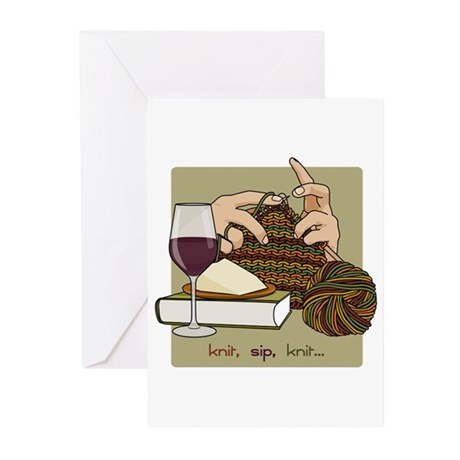 Knit Sip Knit Greeting Cards (Pk of 20)