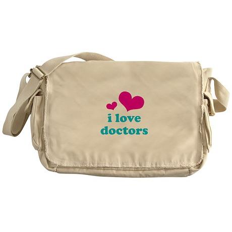 i love doctors (pink/blue) Messenger Bag