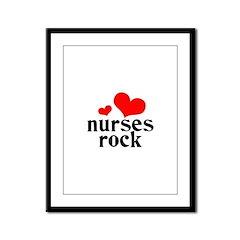 nurses rock (red/black) Framed Panel Print