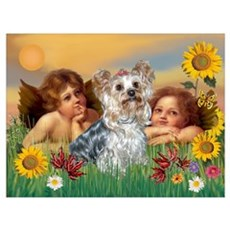 Angels with Yorkie Poster