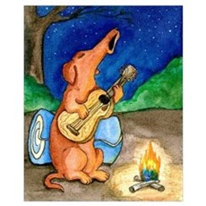 Campfire Howling Dachshund Poster