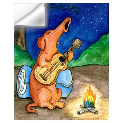 Campfire Howling Dachshund Wall Decal